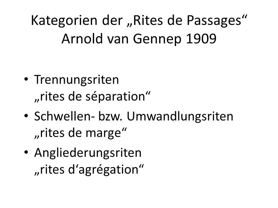Kategorien der Rites de Passages Arnold van Gennep 1909 Trennungsriten rites de séparation Schwellen- bzw. Umwandlungsriten rites de marge Angliederun