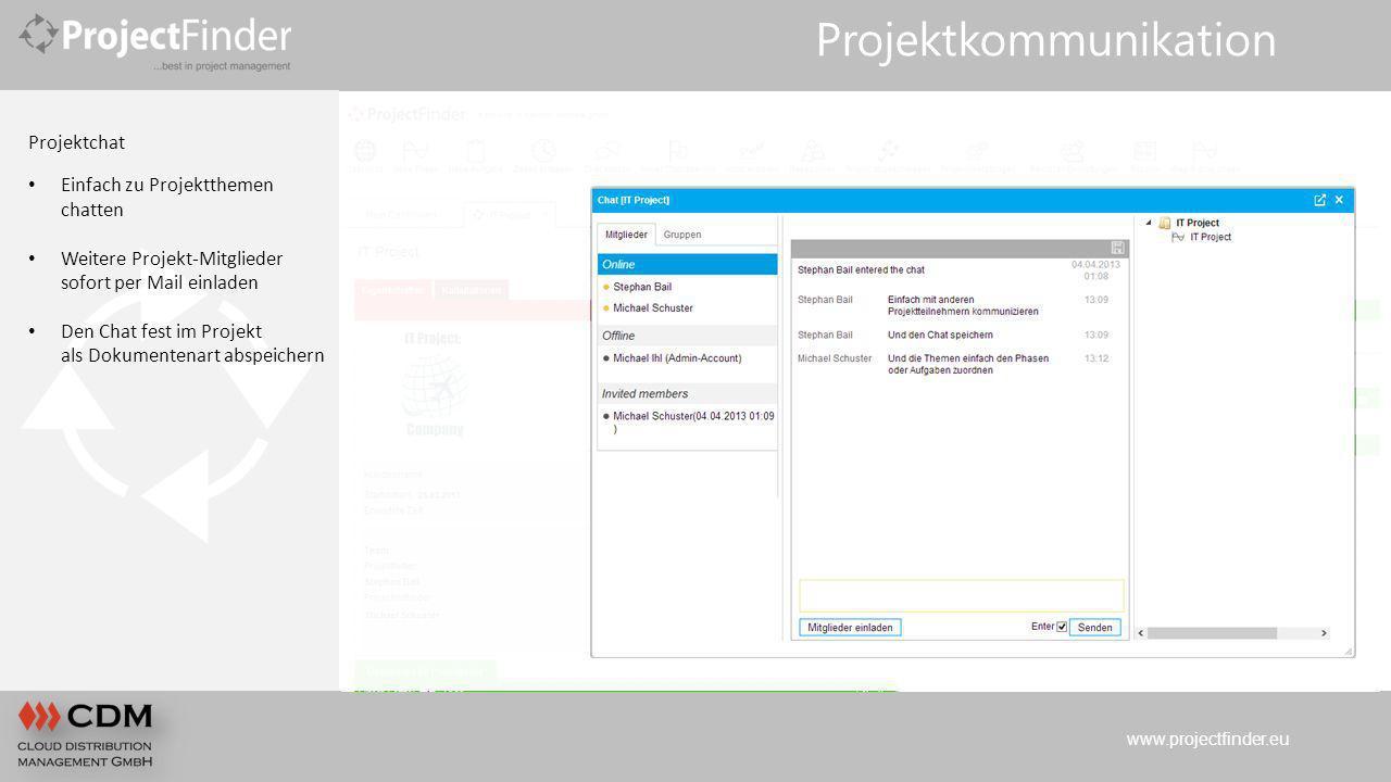 www.projectfinder.eu Projektkommunikation Projektchat Einfach zu Projektthemen chatten Weitere Projekt-Mitglieder sofort per Mail einladen Den Chat fe