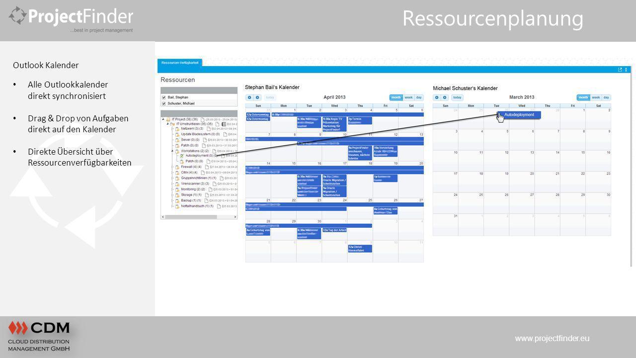 www.projectfinder.eu Ressourcenplanung Outlook Kalender Alle Outlookkalender direkt synchronisiert Drag & Drop von Aufgaben direkt auf den Kalender Di
