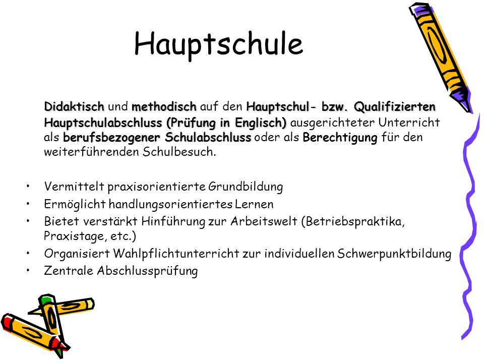 Hauptschule DidaktischmethodischHauptschul- bzw. Qualifizierten Hauptschulabschluss (Prüfung in Englisch) berufsbezogener Schulabschluss Didaktisch un