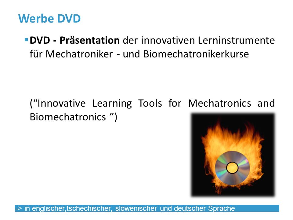 Werbe DVD DVD - Präsentation der innovativen Lerninstrumente für Mechatroniker - und Biomechatronikerkurse (Innovative Learning Tools for Mechatronics