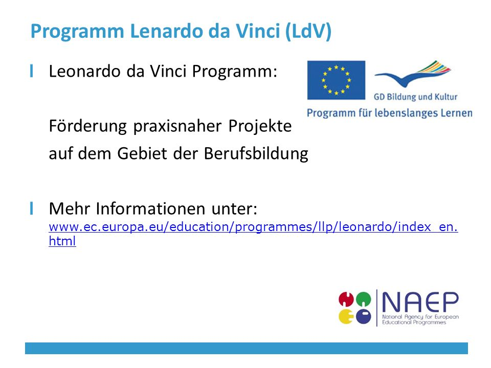 Programm Lenardo da Vinci (LdV) Leonardo da Vinci Programm: Förderung praxisnaher Projekte auf dem Gebiet der Berufsbildung Mehr Informationen unter: www.ec.europa.eu/education/programmes/llp/leonardo/index_en.