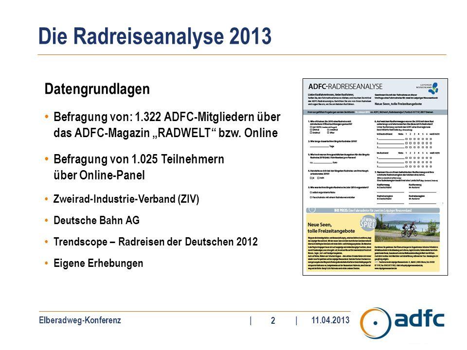 Elberadweg-Konferenz||11.04.2013 2 Datengrundlagen Befragung von: 1.322 ADFC-Mitgliedern über das ADFC-Magazin RADWELT bzw. Online Befragung von 1.025