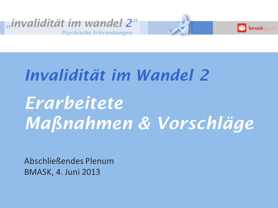 Invalidität im Wandel 2 Erarbeitete Maßnahmen & Vorschläge Abschließendes Plenum BMASK, 4. Juni 2013