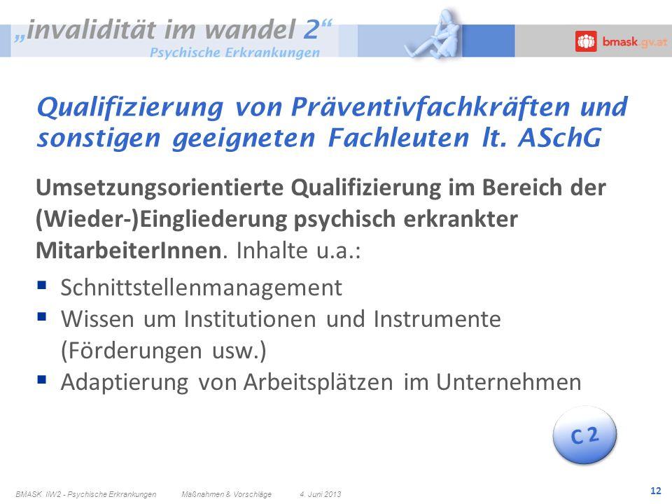 12 Qualifizierung von Präventivfachkräften und sonstigen geeigneten Fachleuten lt. ASchG Umsetzungsorientierte Qualifizierung im Bereich der (Wieder-)