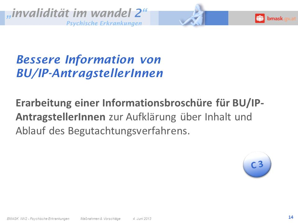 14 Bessere Information von BU/IP-AntragstellerInnen Erarbeitung einer Informationsbroschüre für BU/IP- AntragstellerInnen zur Aufklärung über Inhalt u