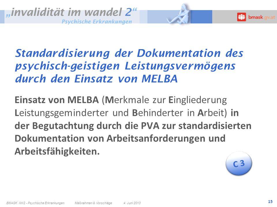 15 Standardisierung der Dokumentation des psychisch-geistigen Leistungsvermögens durch den Einsatz von MELBA Einsatz von MELBA (Merkmale zur Eingliede
