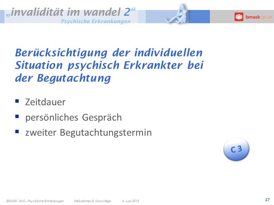 17 Berücksichtigung der individuellen Situation psychisch Erkrankter bei der Begutachtung Zeitdauer persönliches Gespräch zweiter Begutachtungstermin
