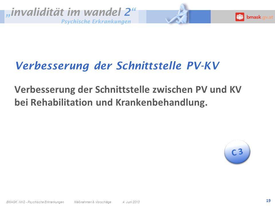 19 Verbesserung der Schnittstelle PV-KV Verbesserung der Schnittstelle zwischen PV und KV bei Rehabilitation und Krankenbehandlung. BMASK IiW2 - Psych