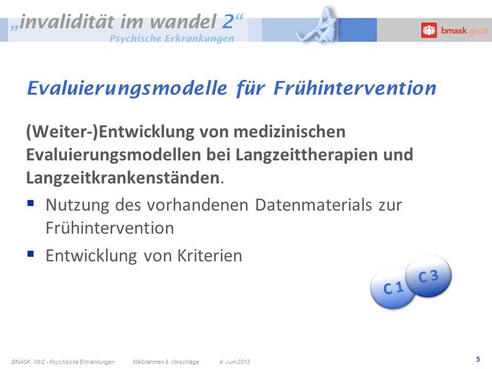 5 Evaluierungsmodelle für Frühintervention (Weiter-)Entwicklung von medizinischen Evaluierungsmodellen bei Langzeittherapien und Langzeitkrankenstände