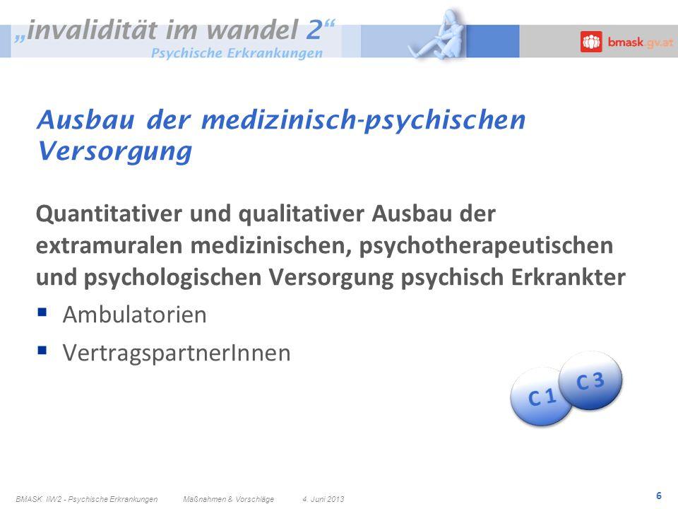 6 Ausbau der medizinisch-psychischen Versorgung Quantitativer und qualitativer Ausbau der extramuralen medizinischen, psychotherapeutischen und psycho