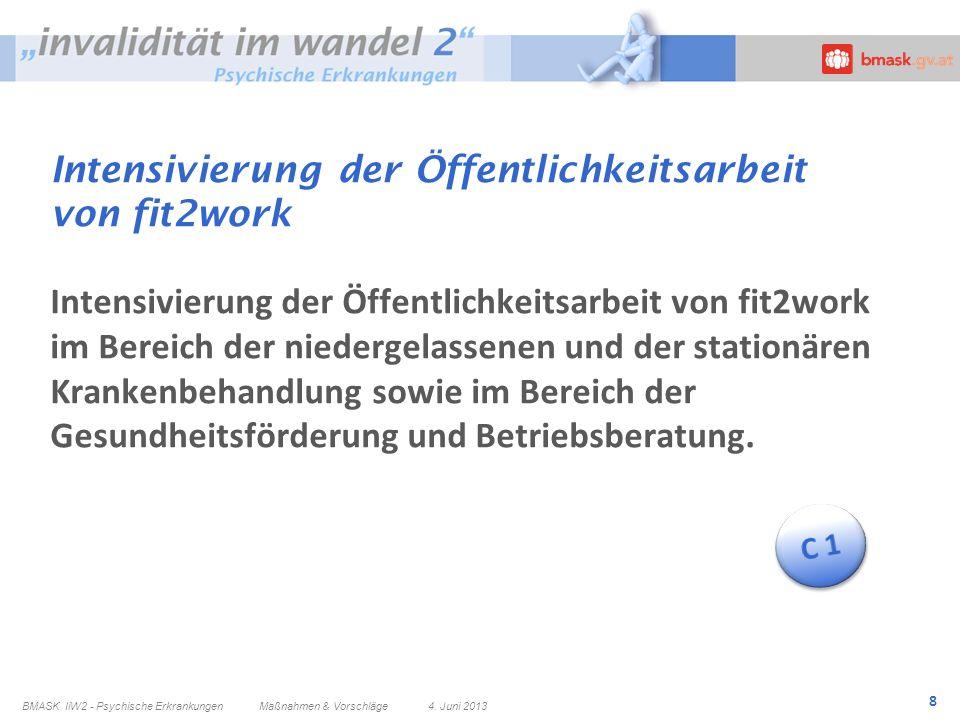 8 Intensivierung der Öffentlichkeitsarbeit von fit2work Intensivierung der Öffentlichkeitsarbeit von fit2work im Bereich der niedergelassenen und der