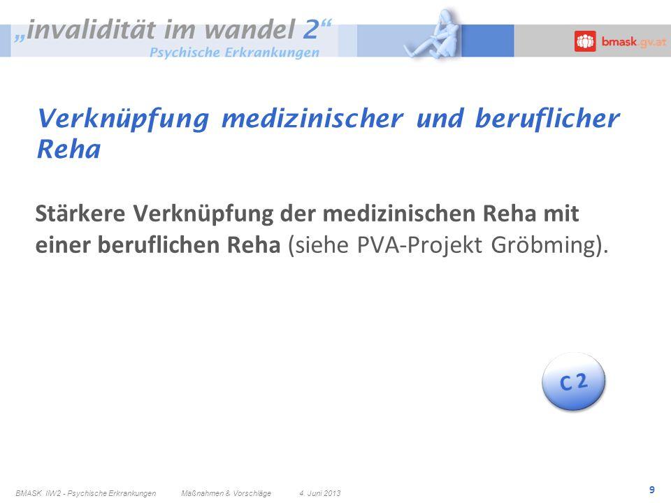 9 Verknüpfung medizinischer und beruflicher Reha Stärkere Verknüpfung der medizinischen Reha mit einer beruflichen Reha (siehe PVA-Projekt Gröbming).