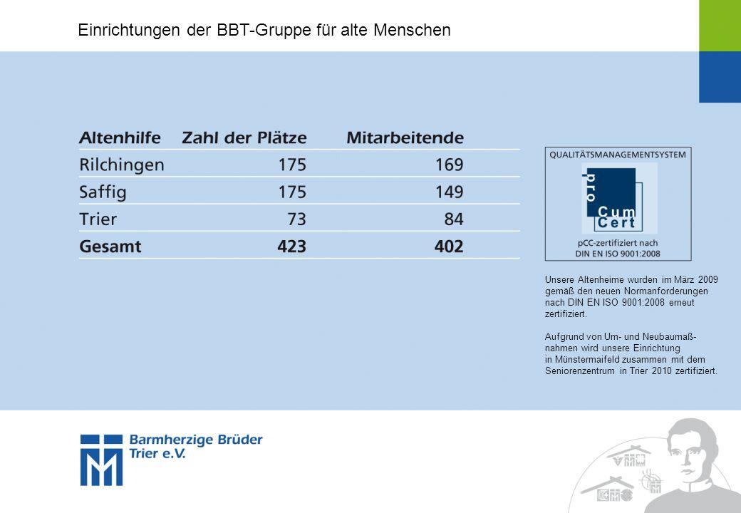 Unsere Altenheime wurden im März 2009 gemäß den neuen Normanforderungen nach DIN EN ISO 9001:2008 erneut zertifiziert. Aufgrund von Um- und Neubaumaß-