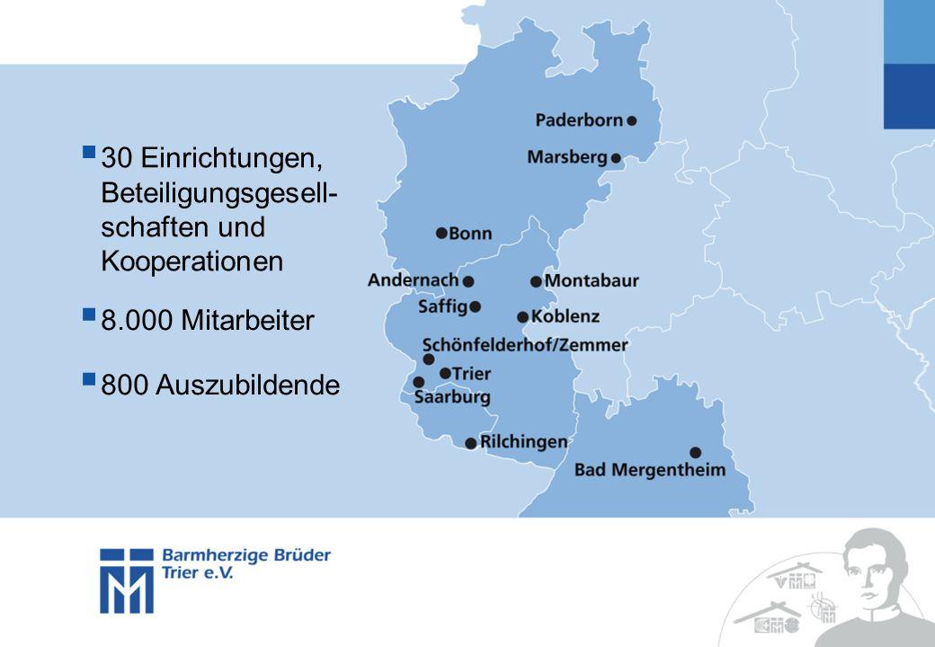 30 Einrichtungen, Beteiligungsgesell- schaften und Kooperationen 8.000 Mitarbeiter 800 Auszubildende
