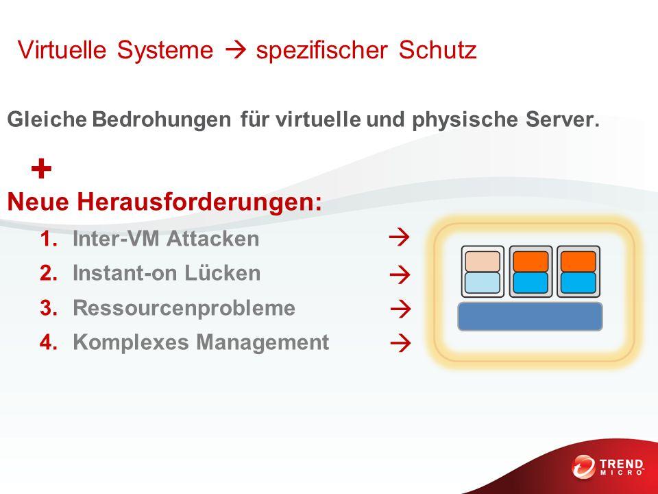 Gleiche Bedrohungen für virtuelle und physische Server. Neue Herausforderungen: 1.Inter-VM Attacken 2.Instant-on Lücken 3.Ressourcenprobleme 4.Komplex