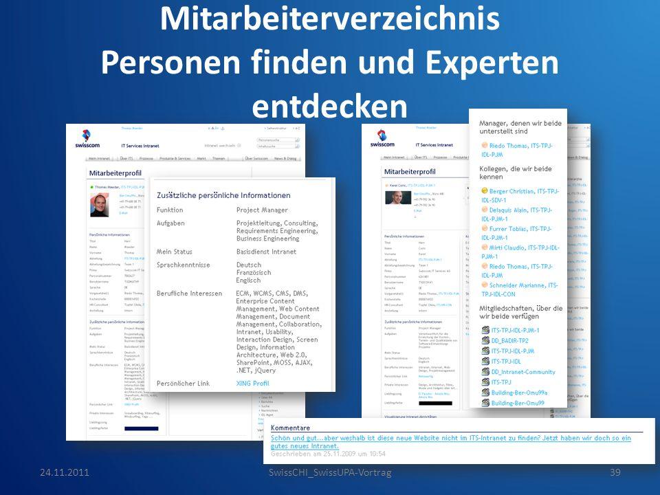 Mitarbeiterverzeichnis Personen finden und Experten entdecken 24.11.2011SwissCHI_SwissUPA-Vortrag39