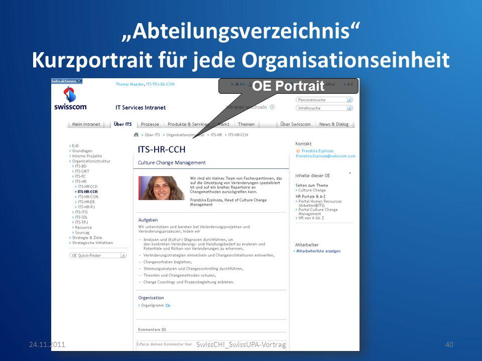 Abteilungsverzeichnis Kurzportrait für jede Organisationseinheit OE Portrait 24.11.2011SwissCHI_SwissUPA-Vortrag40