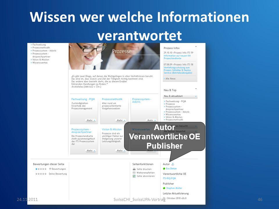 Wissen wer welche Informationen verantwortet Autor Verantwortliche OE Publisher 24.11.2011SwissCHI_SwissUPA-Vortrag46