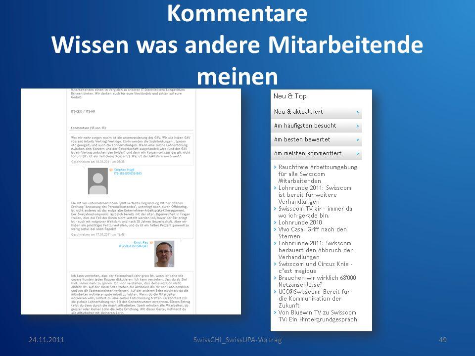 Kommentare Wissen was andere Mitarbeitende meinen 24.11.2011SwissCHI_SwissUPA-Vortrag49
