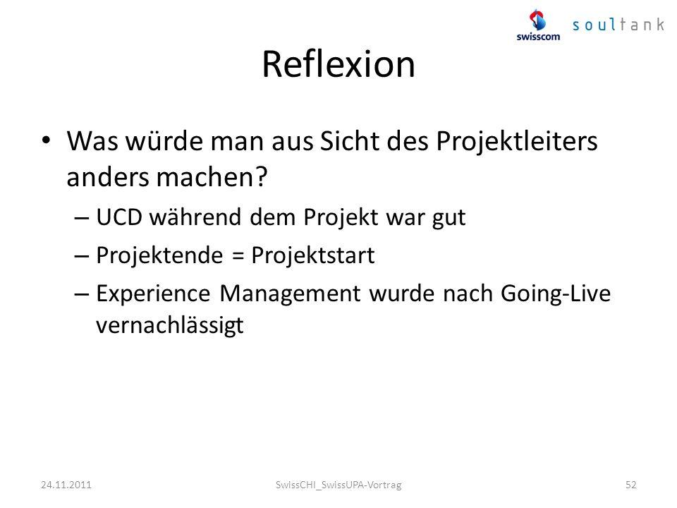 Reflexion Was würde man aus Sicht des Projektleiters anders machen? – UCD während dem Projekt war gut – Projektende = Projektstart – Experience Manage