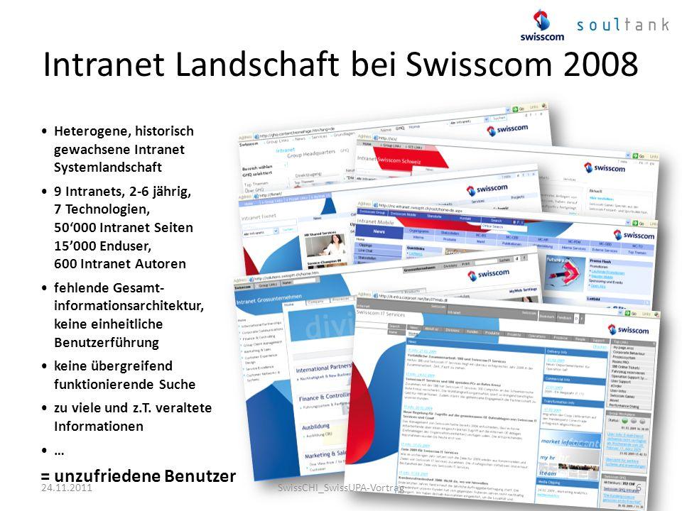 Intranet Landschaft bei Swisscom 2008 Heterogene, historisch gewachsene Intranet Systemlandschaft 9 Intranets, 2-6 jährig, 7 Technologien, 50000 Intra