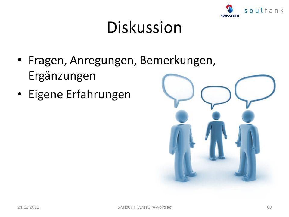 Diskussion Fragen, Anregungen, Bemerkungen, Ergänzungen Eigene Erfahrungen SwissCHI_SwissUPA-Vortrag6024.11.2011