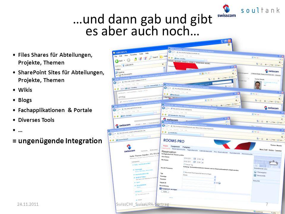 Einleitung SharePoint 2007 war gesetzt Vom Projekt Auftraggeber wurde dem Thema Usability ein hohes Gewicht eingeräumt Start des Projektes mit zwei Organisationsbereichen GHQ und ITS … 24.11.2011SwissCHI_SwissUPA-Vortrag8