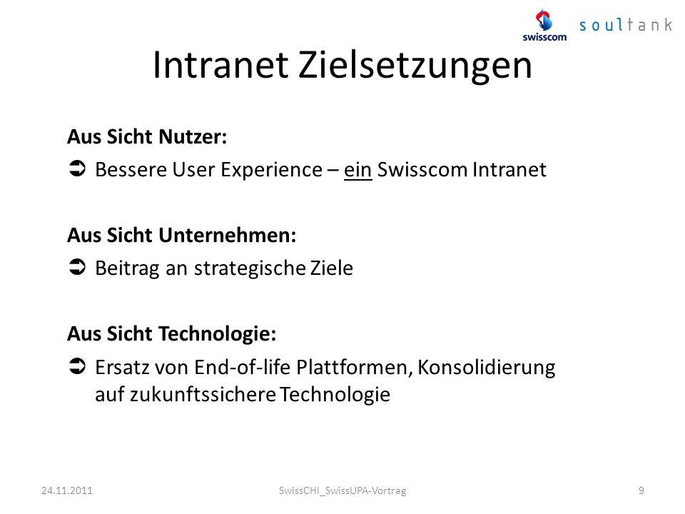 Intranet Zielsetzungen Aus Sicht Nutzer: Bessere User Experience – ein Swisscom Intranet Aus Sicht Unternehmen: Beitrag an strategische Ziele Aus Sich