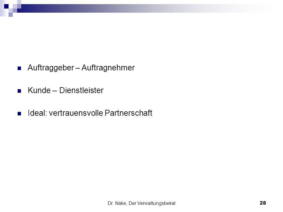 Dr. Näke, Der Verwaltungsbeirat 28 Auftraggeber – Auftragnehmer Kunde – Dienstleister Ideal: vertrauensvolle Partnerschaft