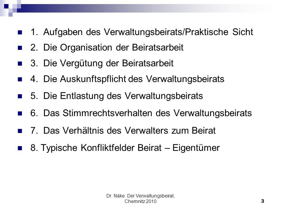 1. Aufgaben des Verwaltungsbeirats/Praktische Sicht 2. Die Organisation der Beiratsarbeit 3. Die Vergütung der Beiratsarbeit 4. Die Auskunftspflicht d