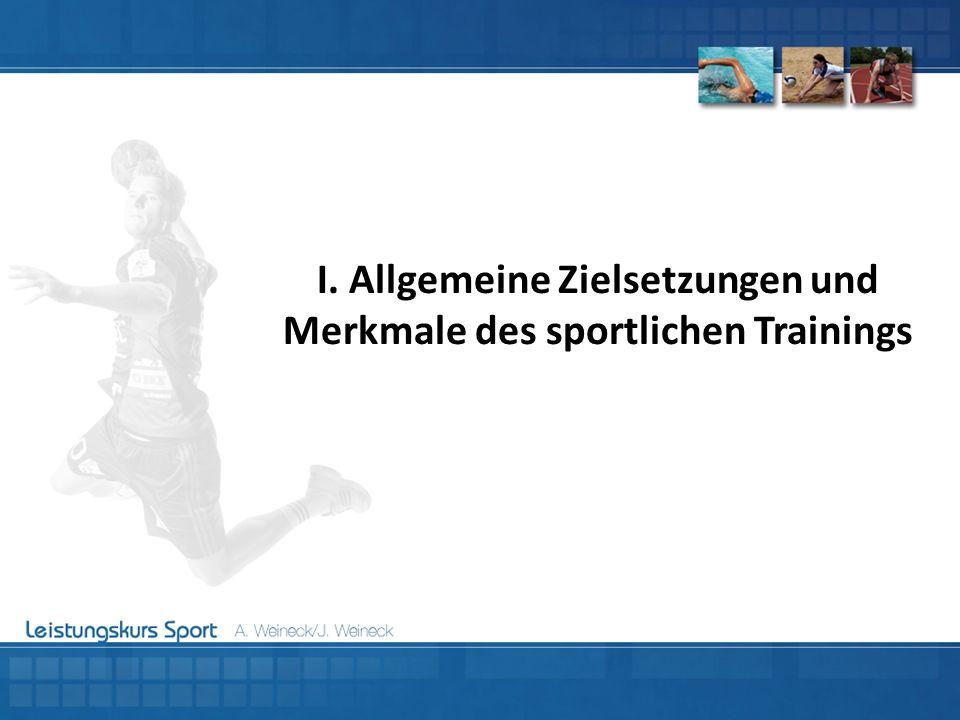I. Allgemeine Zielsetzungen und Merkmale des sportlichen Trainings