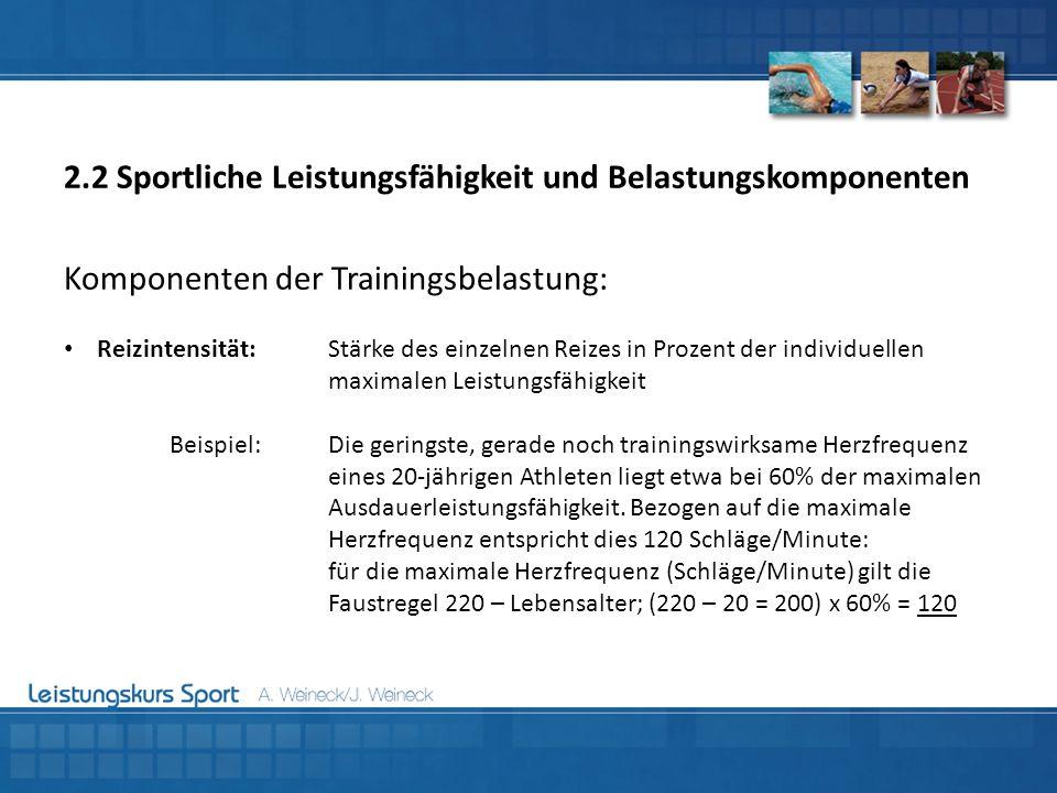 Komponenten der Trainingsbelastung: Reizintensität:Stärke des einzelnen Reizes in Prozent der individuellen maximalen Leistungsfähigkeit Beispiel:Die