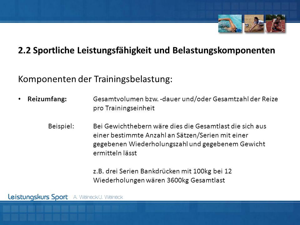 Komponenten der Trainingsbelastung: Reizumfang:Gesamtvolumen bzw. -dauer und/oder Gesamtzahl der Reize pro Trainingseinheit Beispiel:Bei Gewichthebern