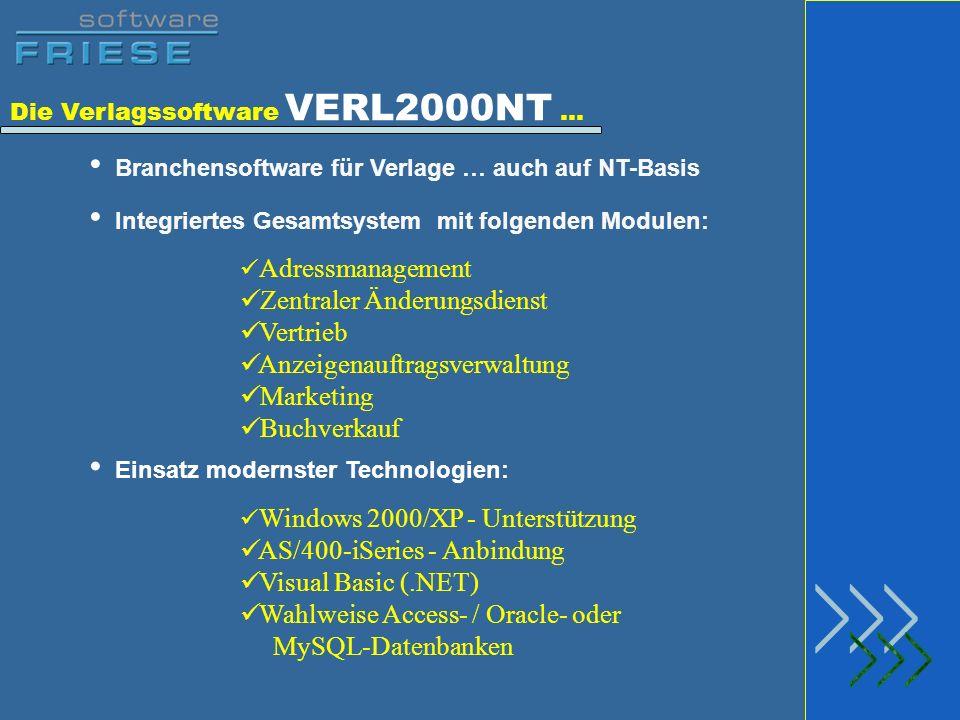 Die Verlagssoftware VERL2000NT … Branchensoftware für Verlage … auch auf NT-Basis Integriertes Gesamtsystem mit folgenden Modulen: Adressmanagement Ze