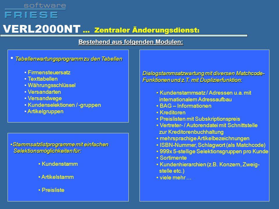 VERL2000NT … Zentraler Änderungsdienst : Bestehend aus folgenden Modulen: Tabellenwartungsprogramm zu den Tabellen Firmensteuersatz Texttabellen Währu
