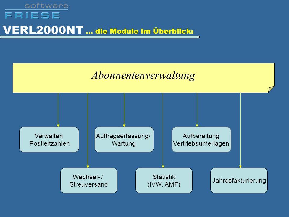 VERL2000NT … die Module im Überblick : Aufbereitung Vertriebsunterlagen Auftragserfassung/ Wartung Jahresfakturierung Verwalten Postleitzahlen Wechsel