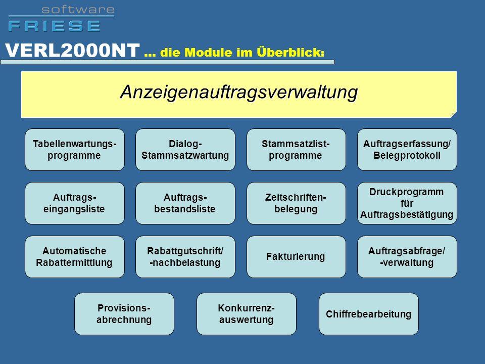 VERL2000NT … die Module im Überblick : Tabellenwartungs- programme Dialog- Stammsatzwartung Stammsatzlist- programme Auftragserfassung/ Belegprotokoll