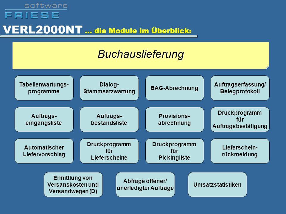 VERL2000NT … die Module im Überblick : Tabellenwartungs- programme Dialog- Stammsatzwartung BAG-Abrechnung Auftragserfassung/ Belegprotokoll Auftrags-