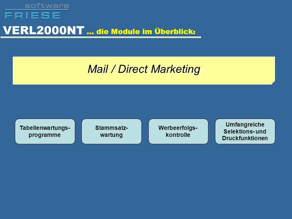 VERL2000NT … die Module im Überblick : Tabellenwartungs- programme Stammsatz- wartung Werbeerfolgs- kontrolle Umfangreiche Selektions- und Druckfunkti