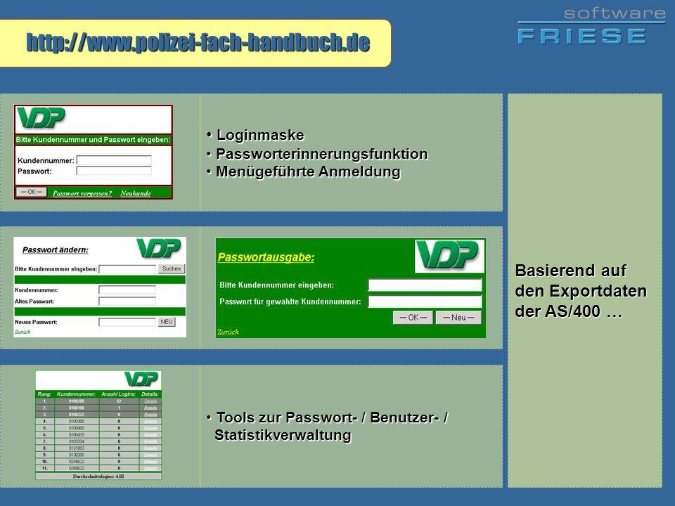 http://www.polizei-fach-handbuch.de Loginmaske Loginmaske Passworterinnerungsfunktion Passworterinnerungsfunktion Menügeführte Anmeldung Menügeführte
