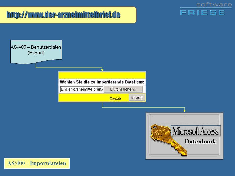 http://www.der-arzneimittelbrief.de AS/400 - Importdateien AS/400 – Benutzerdaten (Export) Datenbank