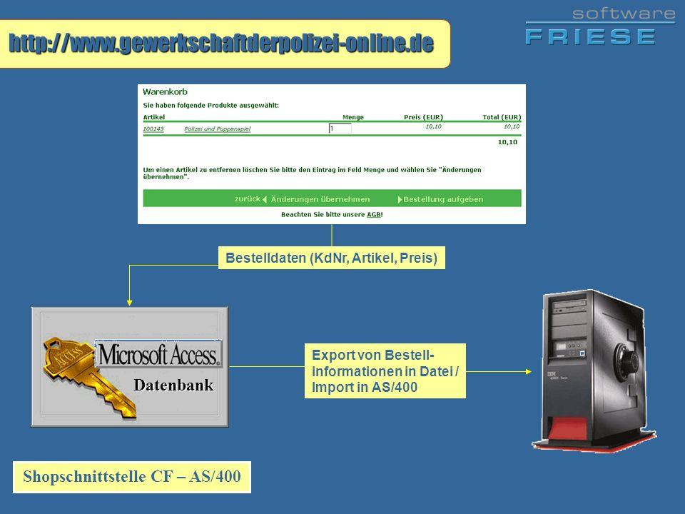 Shopschnittstelle CF – AS/400 Datenbank http://www.gewerkschaftderpolizei-online.de Bestelldaten (KdNr, Artikel, Preis) Export von Bestell- informatio
