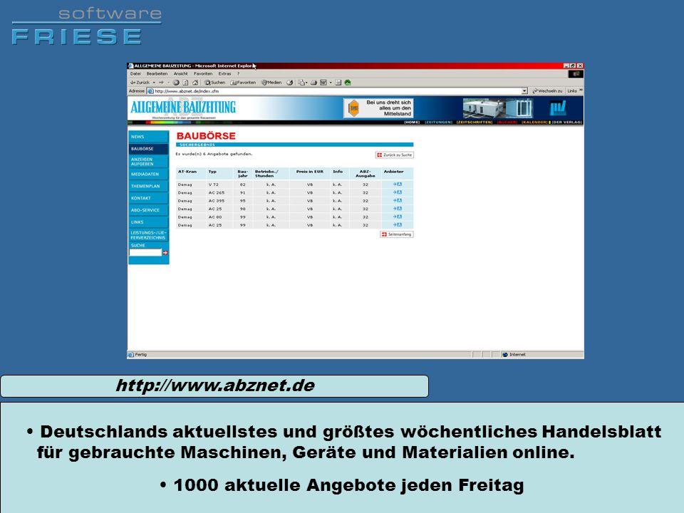 http://www.abznet.de Deutschlands aktuellstes und größtes wöchentliches Handelsblatt für gebrauchte Maschinen, Geräte und Materialien online. 1000 akt