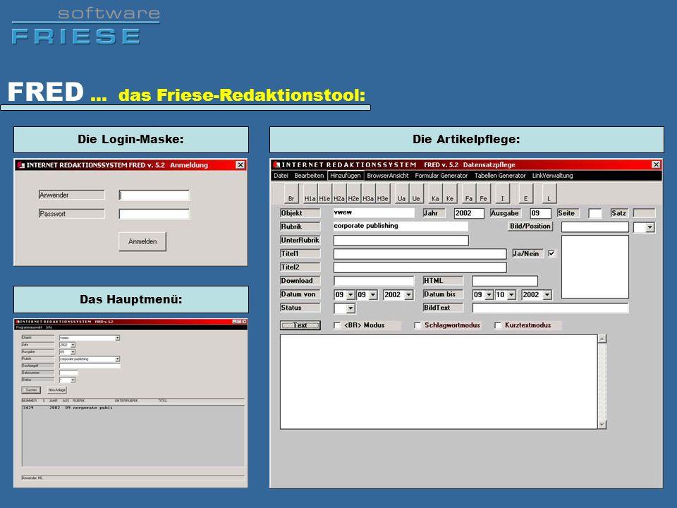 FRED … das Friese-Redaktionstool: Die Login-Maske: Das Hauptmenü: Die Artikelpflege: