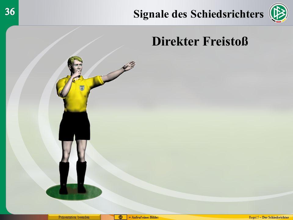 Regel 5 – Der Schiedsrichter Signale des Schiedsrichters Direkter Freistoß = Aufruf eines Bildes Präsentation beenden