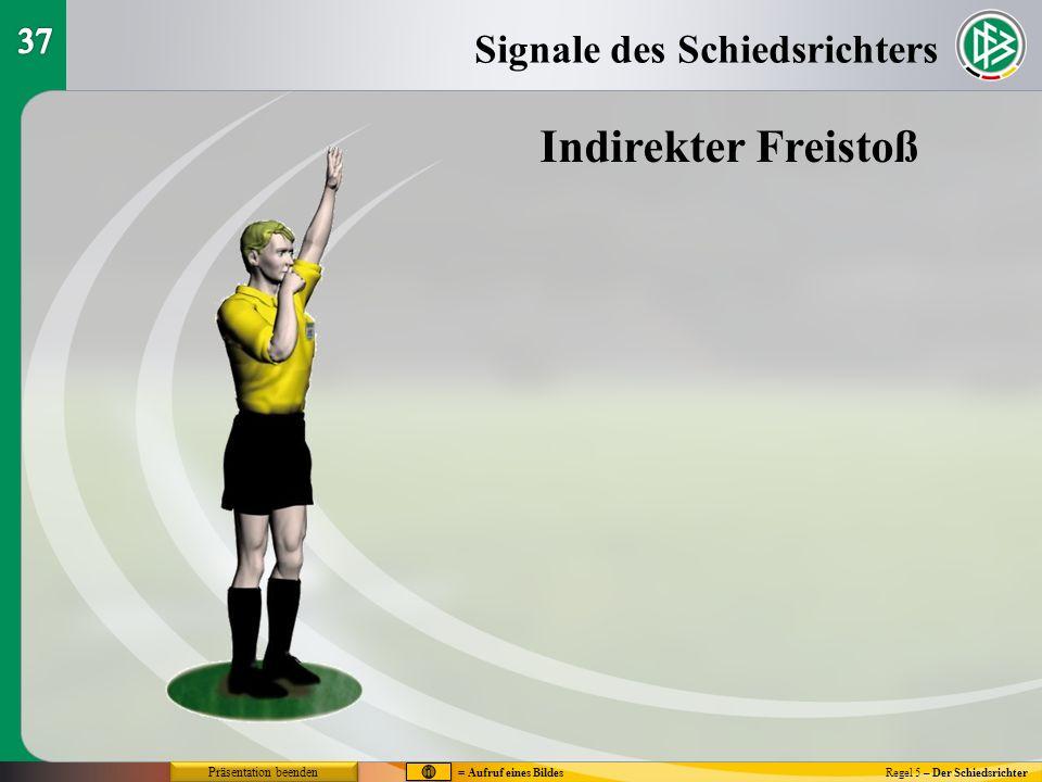 Regel 5 – Der Schiedsrichter Signale des Schiedsrichters Indirekter Freistoß = Aufruf eines Bildes Präsentation beenden