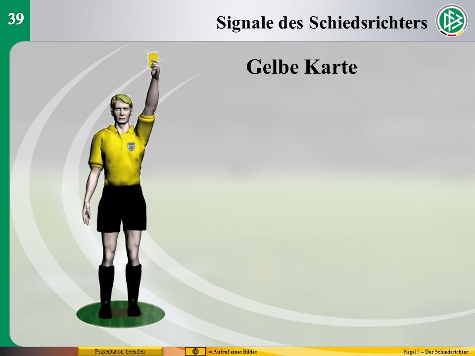 Regel 5 – Der Schiedsrichter Gelbe Karte Signale des Schiedsrichters = Aufruf eines Bildes Präsentation beenden
