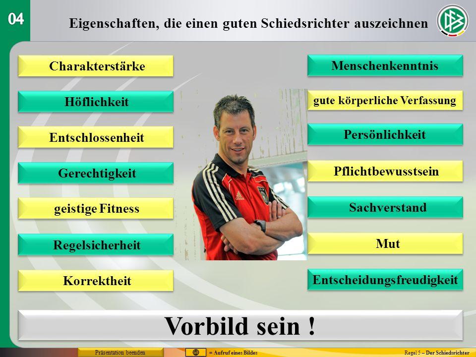 Regel 5 – Der Schiedsrichter Stellungsspiel bei Standardsituationen Freistoß (1) = Aufruf eines Bildes Präsentation beenden