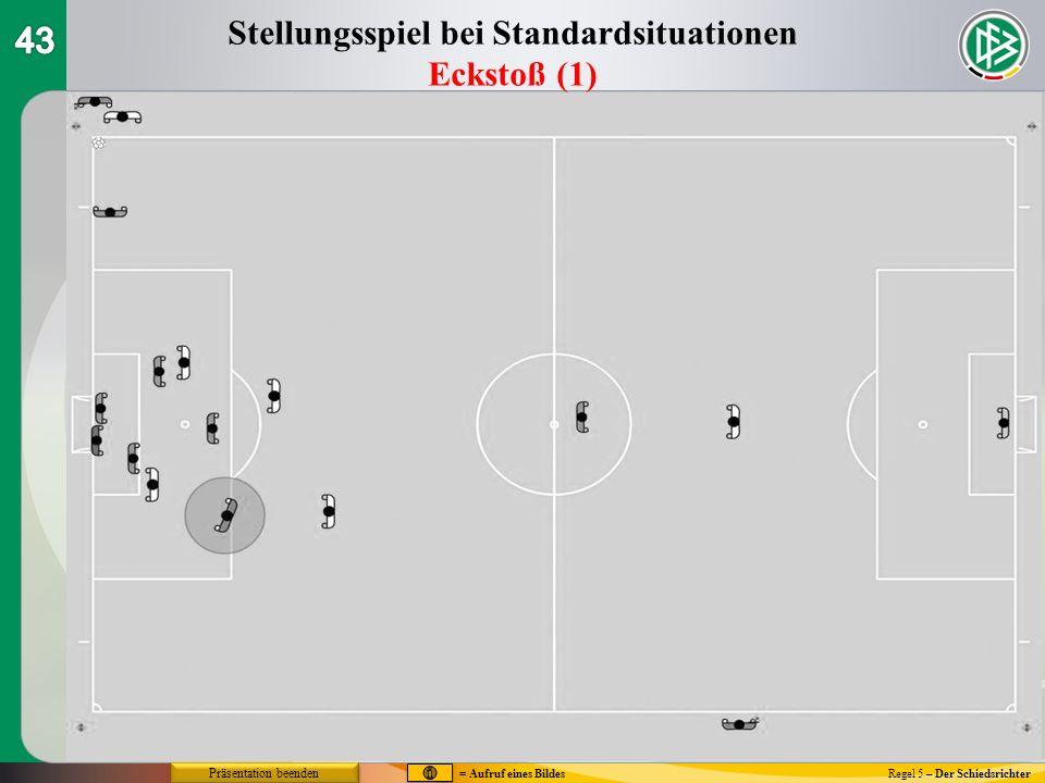 Regel 5 – Der Schiedsrichter Stellungsspiel bei Standardsituationen Eckstoß (1) = Aufruf eines Bildes Präsentation beenden